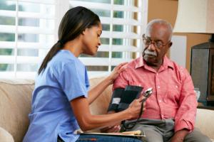 senior care and a caregiver